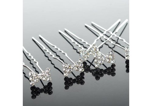 Hairpins / Haarpinnen – Strikje met Kristallen -5 stuks
