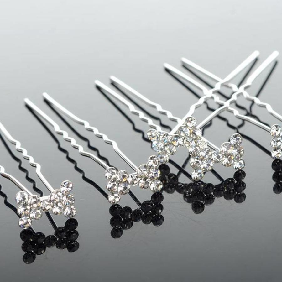Hairpins / Haarpinnen – Strikje met Kristallen - 5 stuks-1