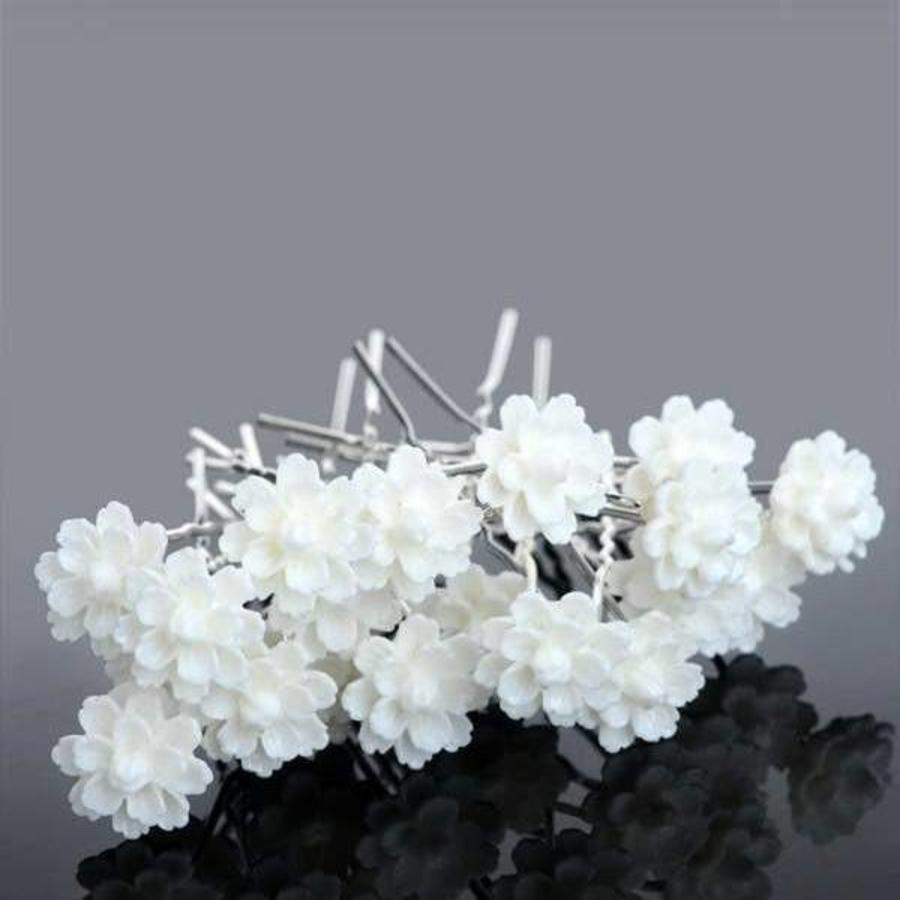 PaCaZa - Hairpins - Chique Off White Bloemetje - 5 stuks-4