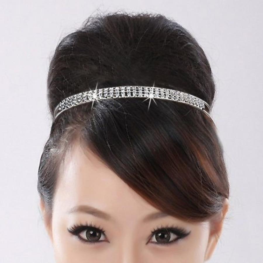 Zilverkleurige Tiara / Diadeem met Fonkelende Kristallen-2