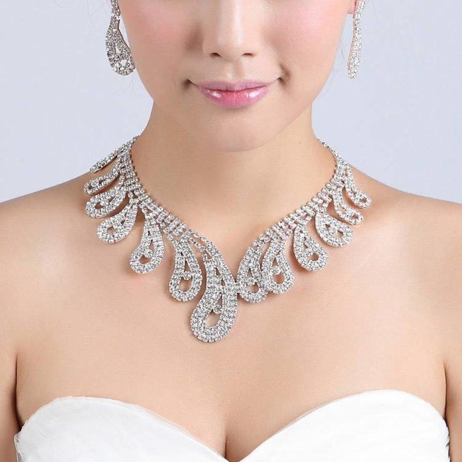 Verstelbare Bruidsketting met Bijpassende Oorbellen-4