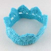 thumb-PaCaZa - SALE - Gehaakt kroontje - Aqua Blauw-1
