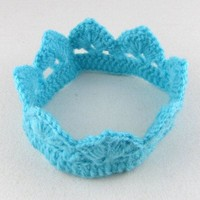thumb-SALE - Gehaakt kroontje - Aqua Blauw-1