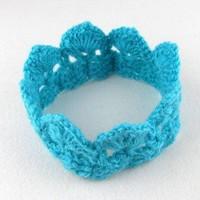 thumb-SALE - Gehaakt kroontje - Aqua Blauw-3