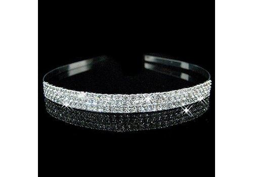 Zilverkleurige Tiara / Diadeem met Fonkelende Kristallen
