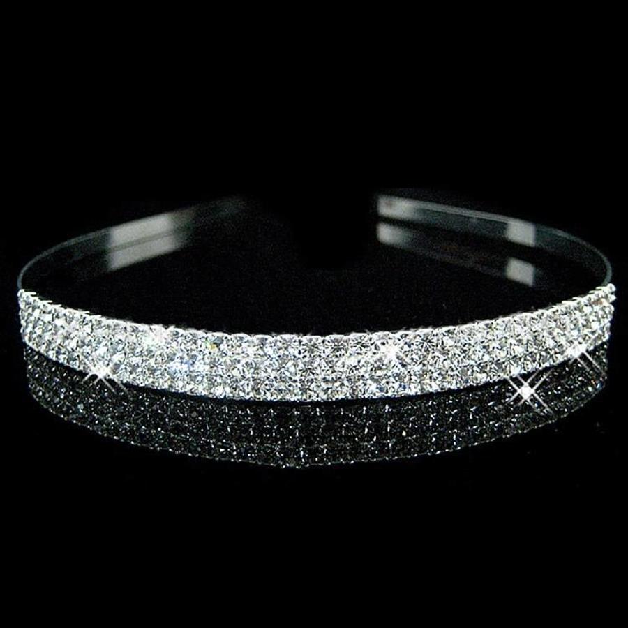 Zilverkleurige Tiara / Diadeem met Fonkelende Kristallen-1