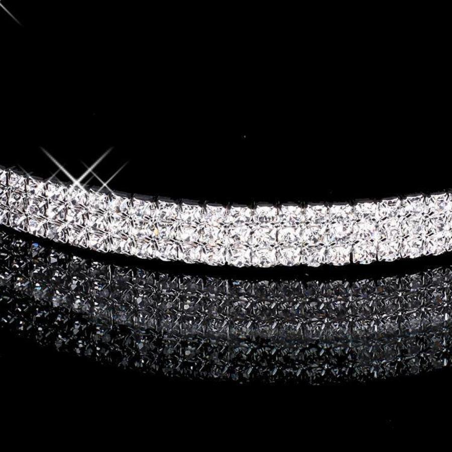 Zilverkleurige Tiara / Diadeem met Fonkelende Kristallen-3