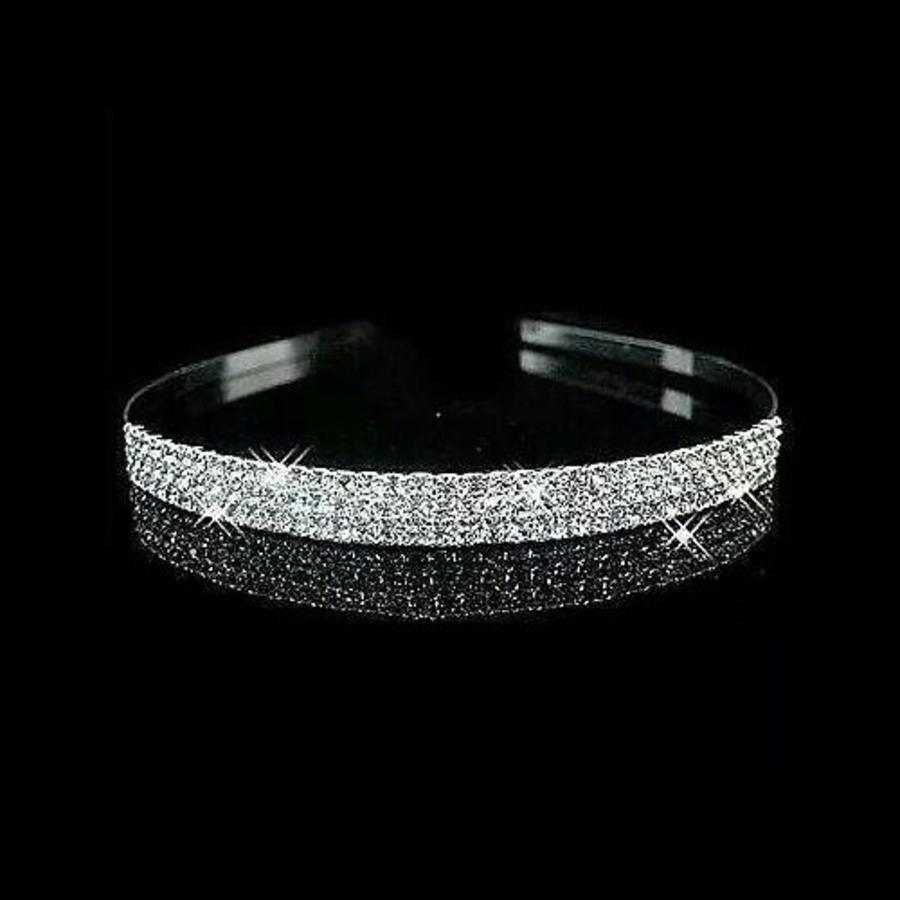 Zilverkleurige Tiara / Diadeem met Fonkelende Kristallen-4