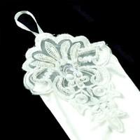 thumb-Elegante Bruidshandschoenen van Glanzend Satijn - Wit-2