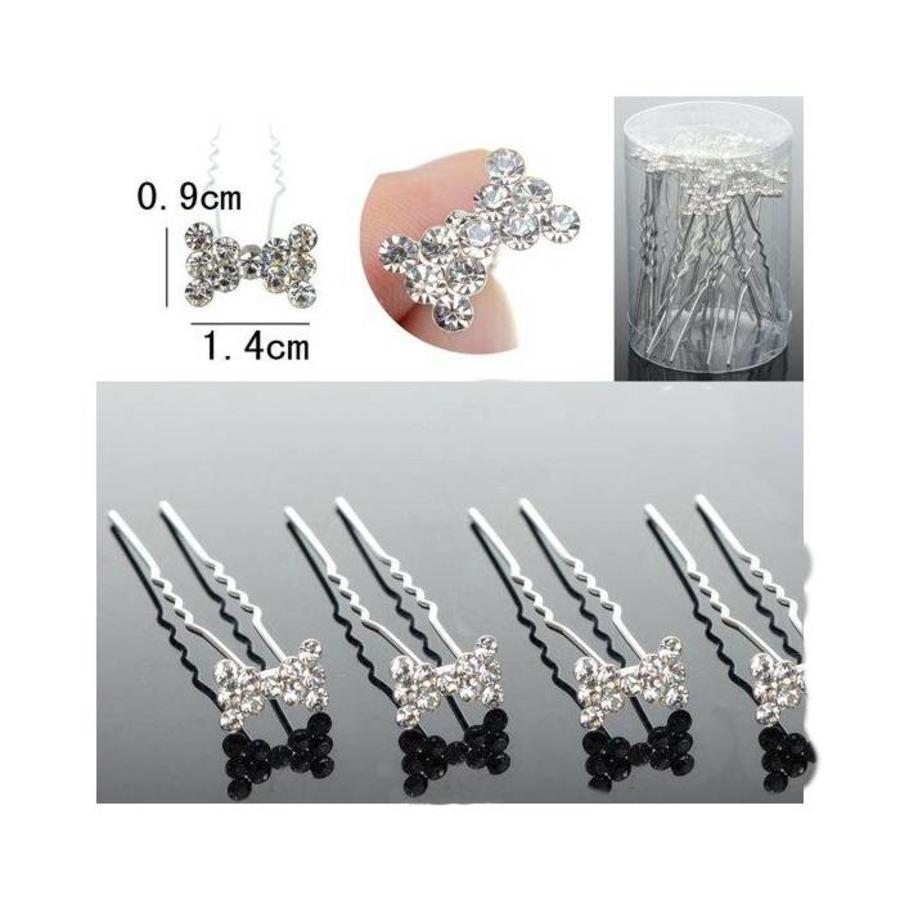 Hairpins / Haarpinnen – Strikje met Kristallen - 5 stuks-2