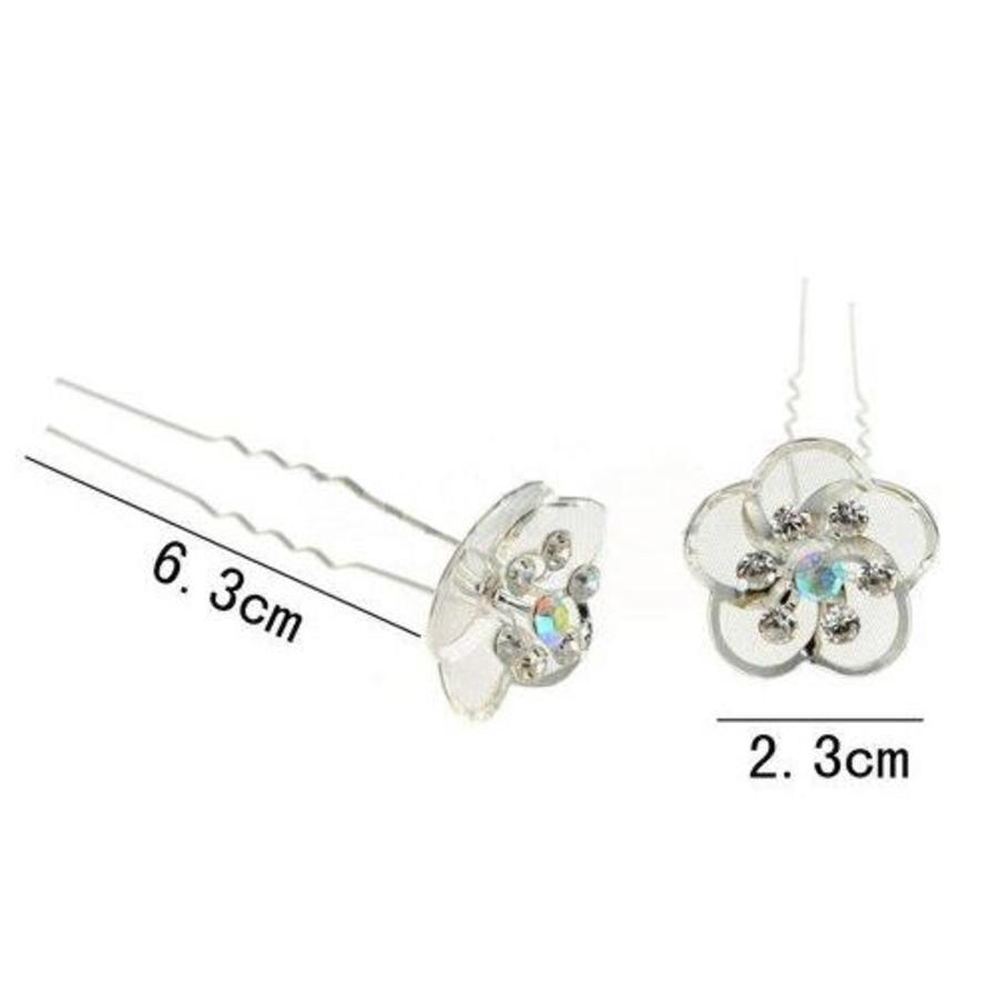 Hairpin - Zilverkleurig met Strass Kristallen-5