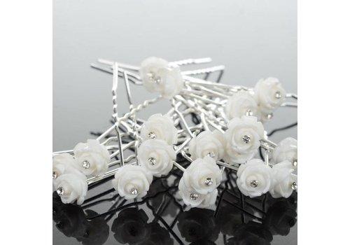 Hairpins – Wit Roosje met Kristalletje - 4 stuks