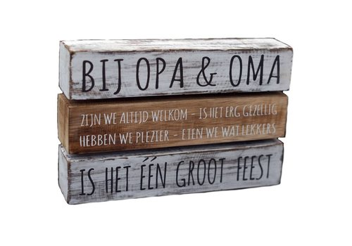 "Houten Tekstplank / Tekstbord 16X24cm ""Bij Opa & Oma....."" - Kleur Antique White & Naturel"