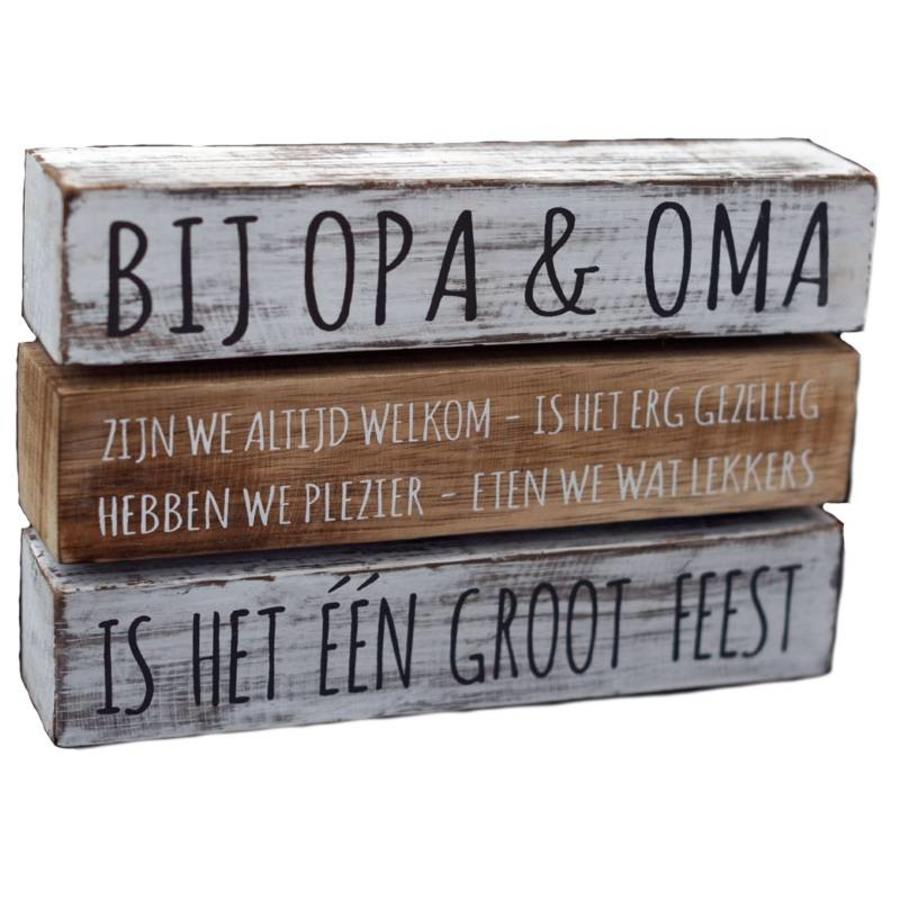 "Houten Tekstplank / Tekstbord 16X24cm ""Bij Opa & Oma....."" - Kleur Antique White & Naturel-1"