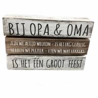 "thumb-Houten Tekstplank / Tekstbord 16X24cm ""Bij Opa & Oma....."" - Kleur Antique White & Naturel-3"