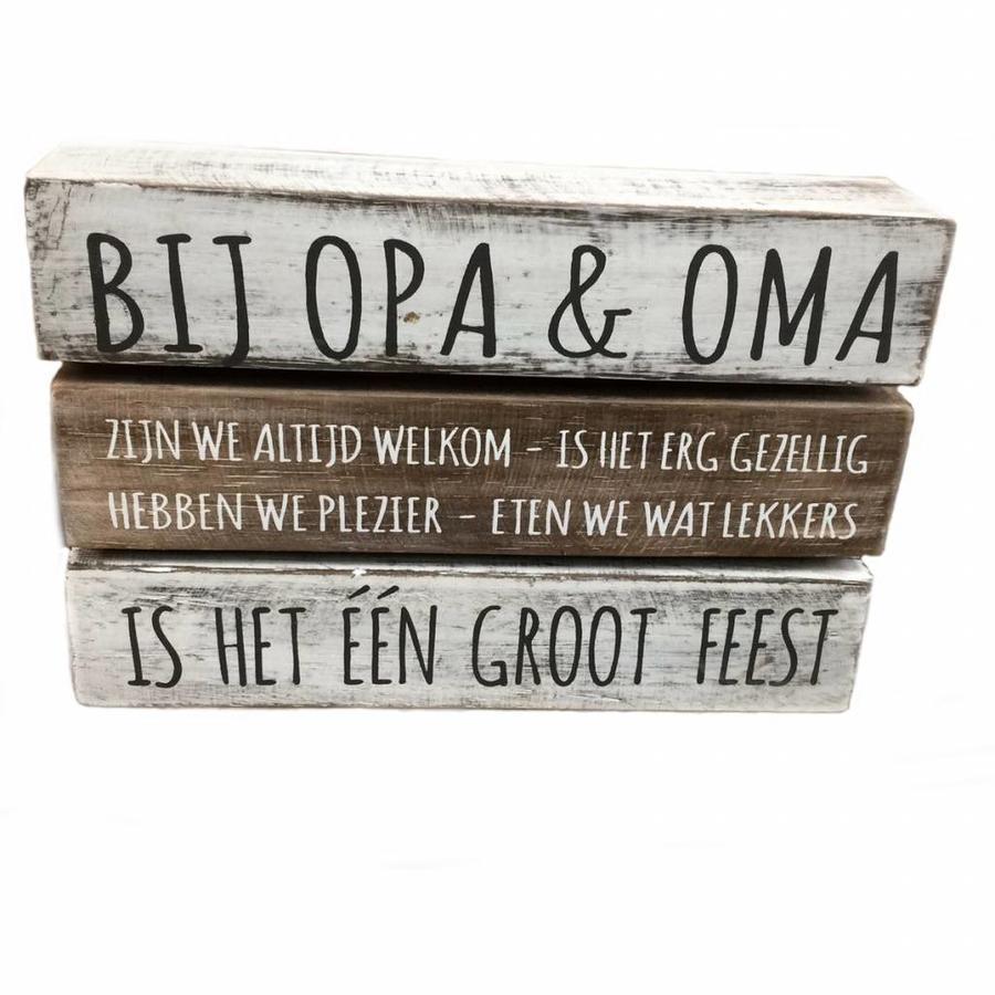 "BonTon - Houten Tekstplank / Tekstbord 16 x 24 cm ""Bij Opa & Oma....."" - Kleur Antique White & Naturel-3"
