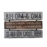 "thumb-BonTon - Houten Tekstplank / Tekstbord 16 x 24 cm ""Bij Opa & Oma....."" - Kleur Antique White & Naturel-2"