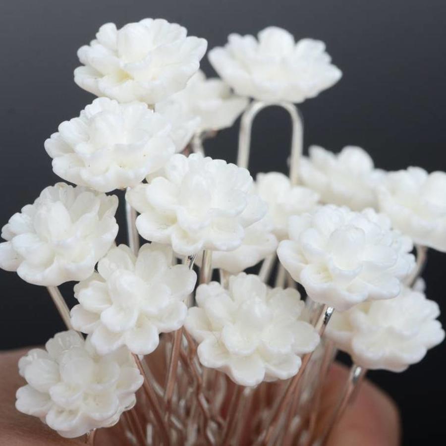 PaCaZa - Hairpins - Chique Off White Bloemetje - 5 stuks-2