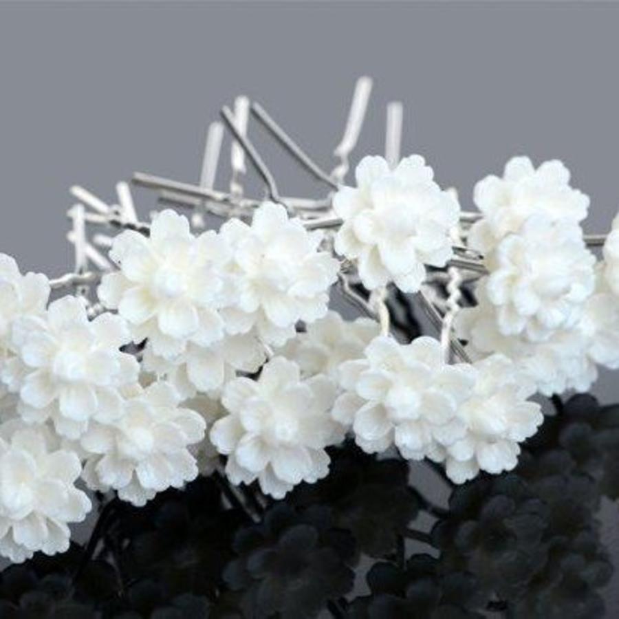 Hairpins – Chique Off White Bloemetje - 5 stuks-5