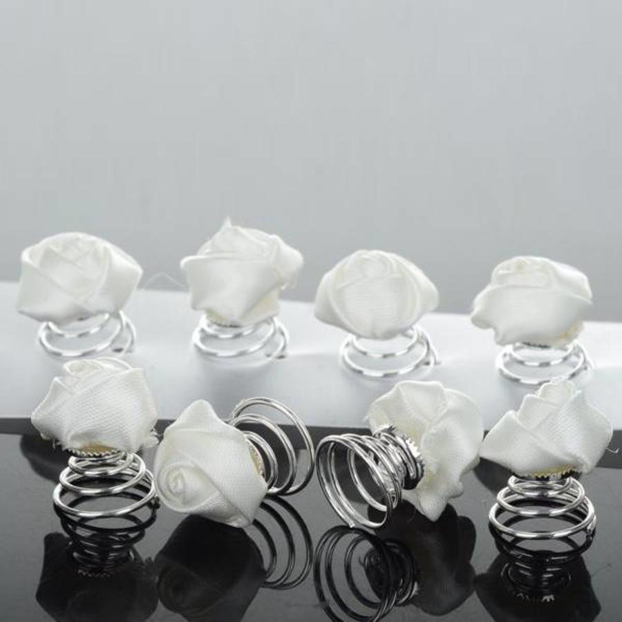 PaCaZa - Prachtige Witte Roosjes Curlies - 6 stuks-6