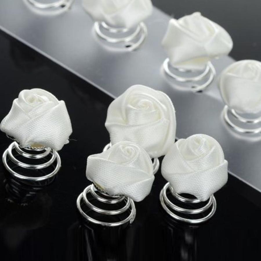 PaCaZa - Prachtige Witte Roosjes Curlies - 6 stuks-1