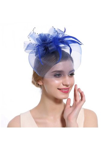 Stijlvolle Fascinator / Birdcage Veil  - Blauw