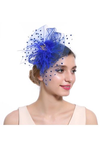 Chique  Fascinator / Birdcage Veil  - Blauw
