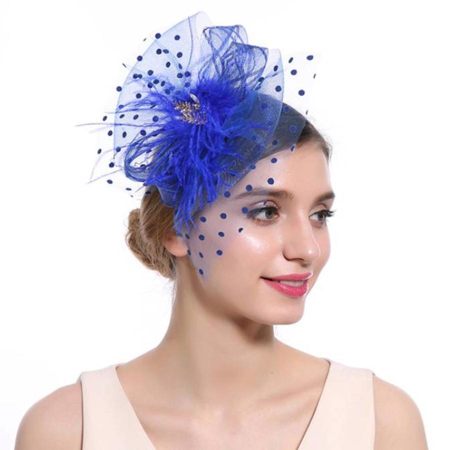 Chique  Fascinator / Birdcage Veil  - Blauw-1