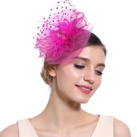 thumb-Chique  Fascinator / Birdcage Veil  - Roze-1