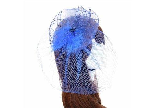 Prachtige Blauwe Fascinator / Birdcage Veil