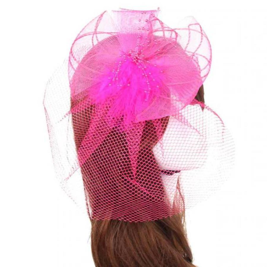 Prachtige Roze Fascinator / Birdcage Veil-1