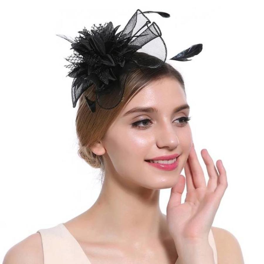 Elegante  Fascinator / Birdcage Veil  - Zwart-2