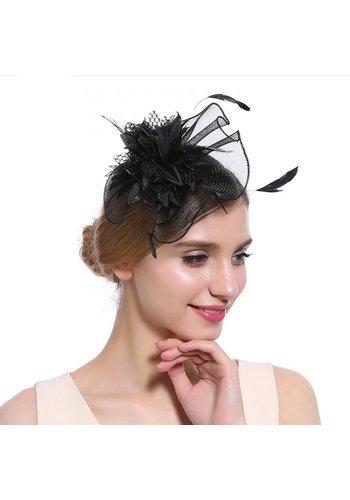 Elegante  Fascinator / Birdcage Veil  - Zwart
