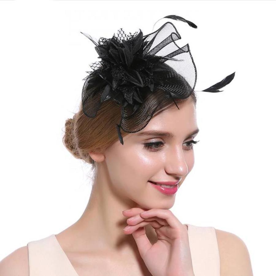 Elegante  Fascinator / Birdcage Veil  - Zwart-1