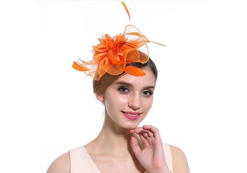 Elegante  Fascinator / Birdcage Veil  - Fel Oranje