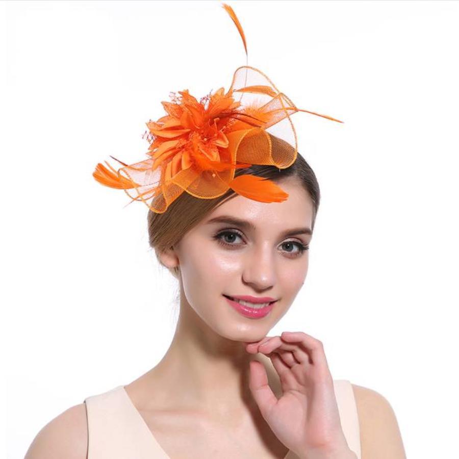 Elegante  Fascinator / Birdcage Veil  - Fel Oranje-1