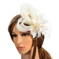 thumb-Chique Ivoorkleurige Fascinator-1