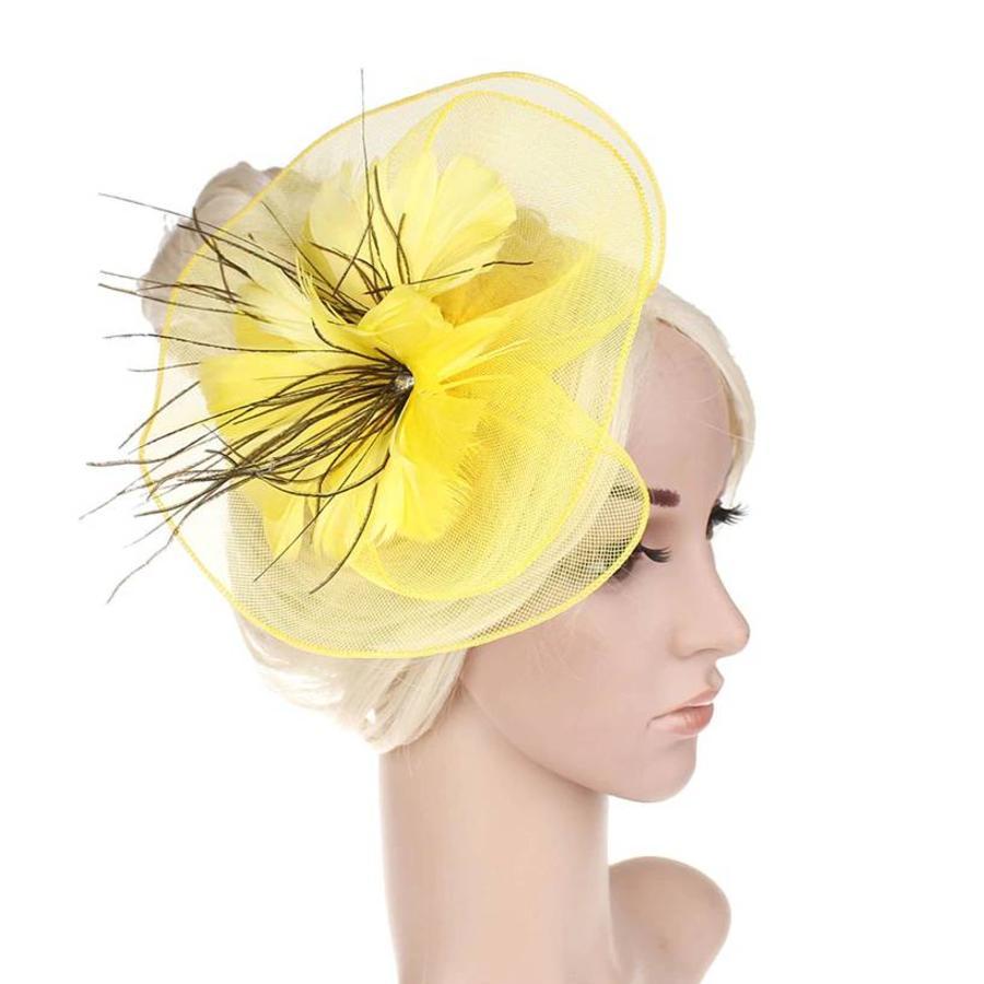 Moderne Fascinator / Haarband - Geel-1
