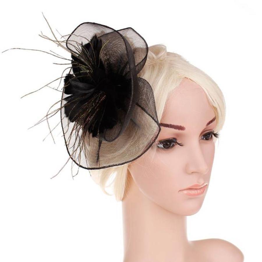 Moderne Fascinator / Haarband - Zwart-1