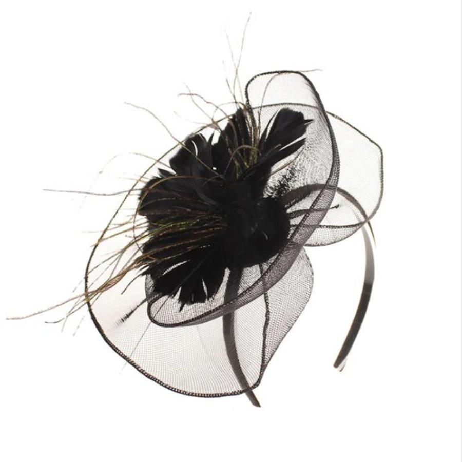 Moderne Fascinator / Haarband - Zwart-2