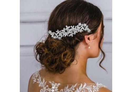 Zilverkleurige Haarkam Flowers met Fonkelende Kristallen