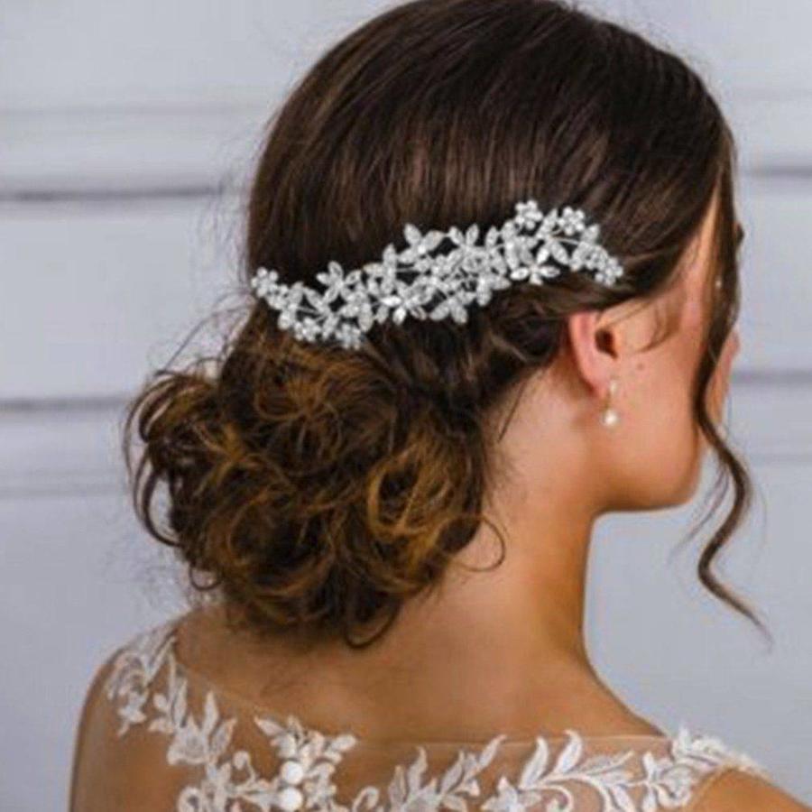 Zilverkleurige Haarkam Flowers met Fonkelende Kristallen-1