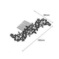 thumb-Zilverkleurige Haarkam Flowers met Fonkelende Kristallen-3