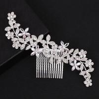 thumb-Zilverkleurige Haarkam Flowers met Fonkelende Kristallen-2