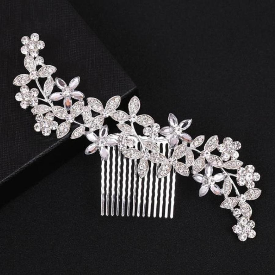 Zilverkleurige Haarkam Flowers met Fonkelende Kristallen-2