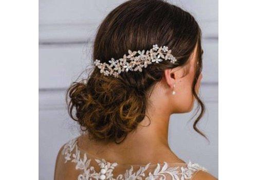 Goudkleurige Haarkam Flowers met Fonkelende Kristallen