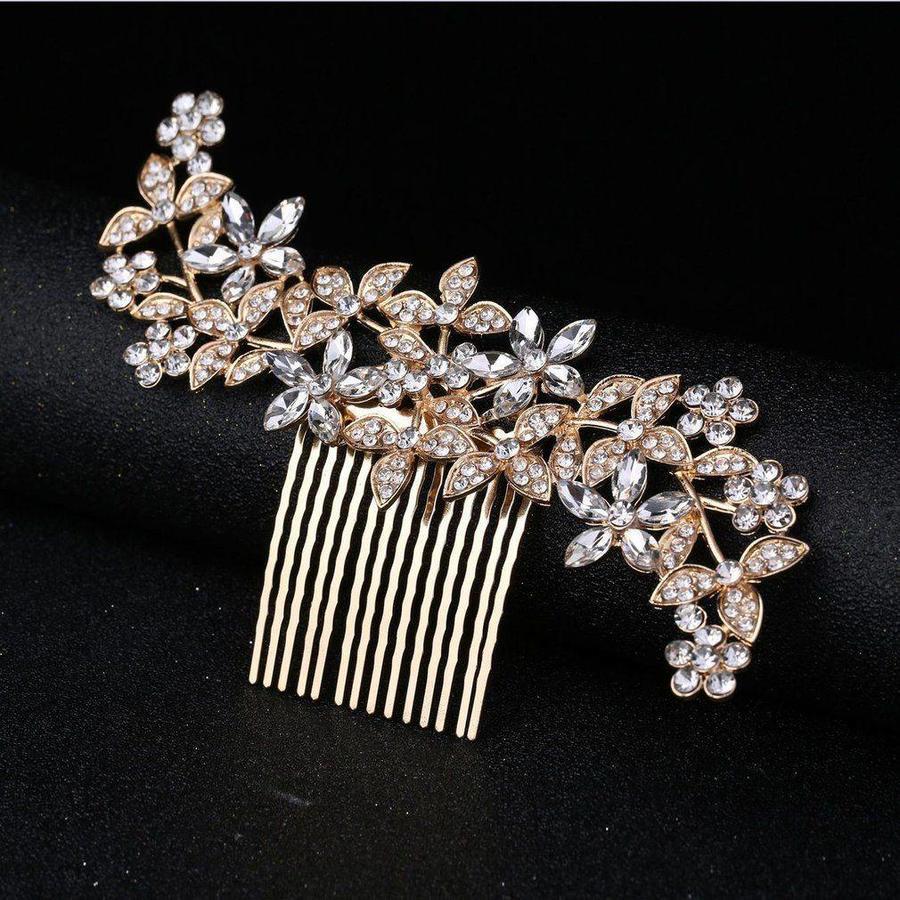 Goudkleurige Haarkam Flowers met Fonkelende Kristallen-4