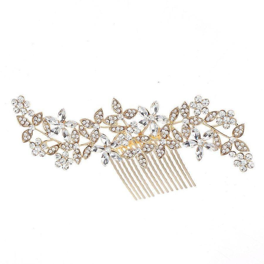 Goudkleurige Haarkam Flowers met Fonkelende Kristallen-3