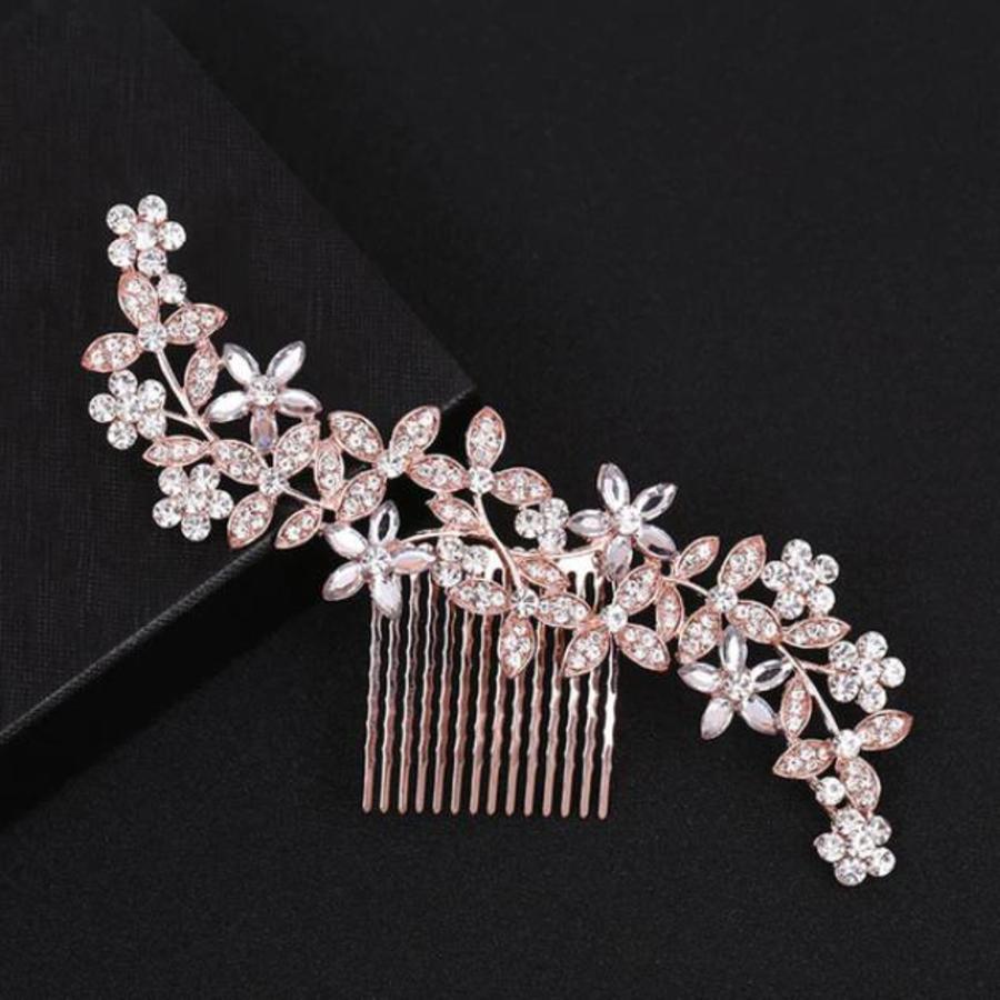 Goudkleurige Haarkam Flowers met Fonkelende Kristallen-2