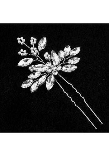 Zilverkleurige Hairpins met Diamanten en Pareltjes - 2 Stuks
